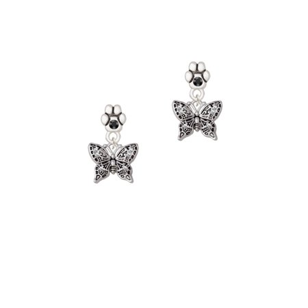 Small Butterfly Earrings - Small Antiqued Crystal Butterfly - Black Crystal Paw Earrings