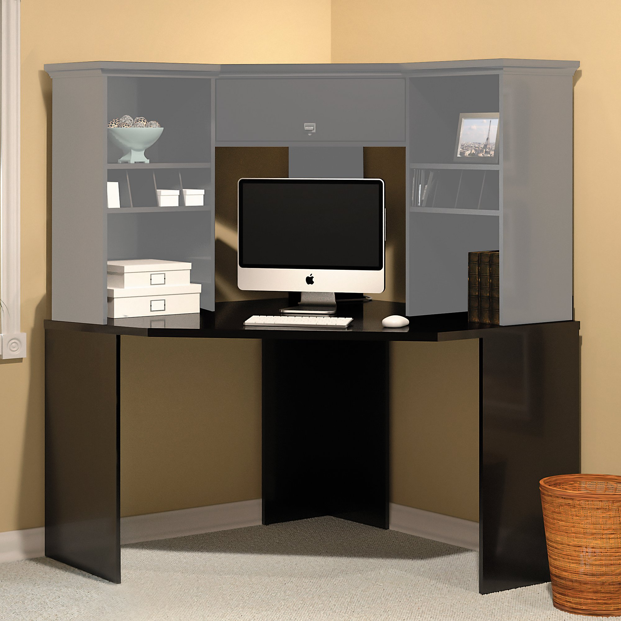 Bush Furniture Stockport Corner Desk in Classic Black