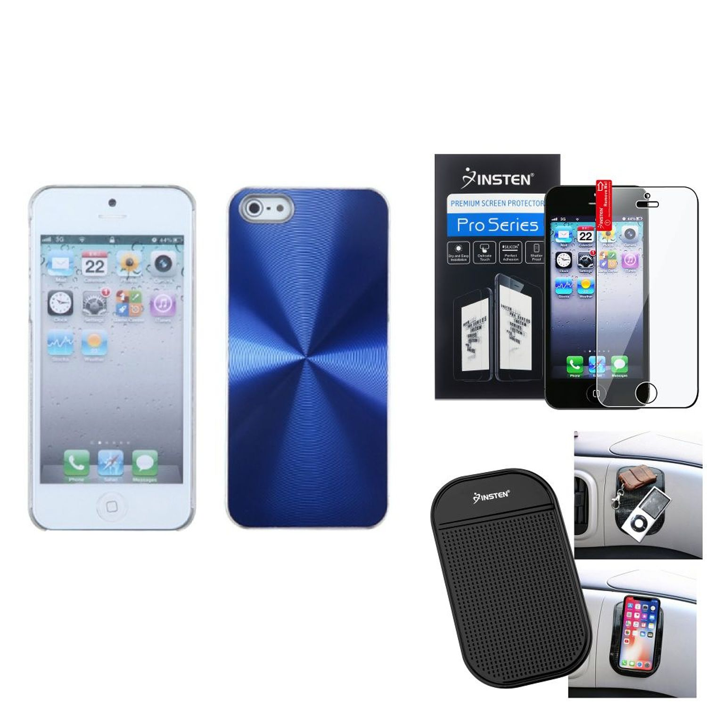Insten Film+Mat+For iPhone SE 5S 5 Blue Case Cosmo Slim Aluminum Back Clip On Protector (Bundle Pack)