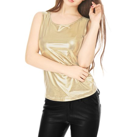 Women's U Neck Solid Slim Fit Stretch Shiny Metallic Tank Top Blouse ShirtGold S (US 6) (Holz Gold Sonnenbrille)