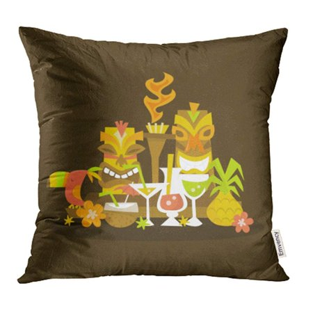 USART Cocktail of Luau Tiki Party Centerpiece Hawaiian Torch Pineapple Bird Cartoon Flower Pillow Case Pillow Cover 18x18 inch Throw Pillow Covers