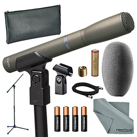 Audio Technica At8010 Omni Directional Instrument Condenser Microphone And Bundle With Microphone Stand   Batteries   Cable   Fibertique Cloth