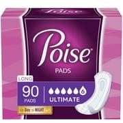 Poise Pads Women's Ultimate Original Design - Long Postpartum Incontinence Pads, 90 Count
