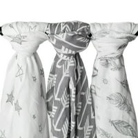 Kids N' Such Muslin Swaddle Blanket Set 'Wanderer' Large 47 x 47 inch - Super Soft Bamboo Blankets - Arrow, Feather and Stars - 3 Pack Baby Shower Gift Bundle of Swaddles for Boys and Girls