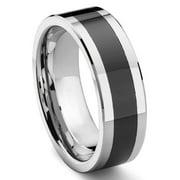 Titanium Kay Black Tungsten Carbide Beveled Comfort Fit Mens Wedding Band Ring Sz 10.0