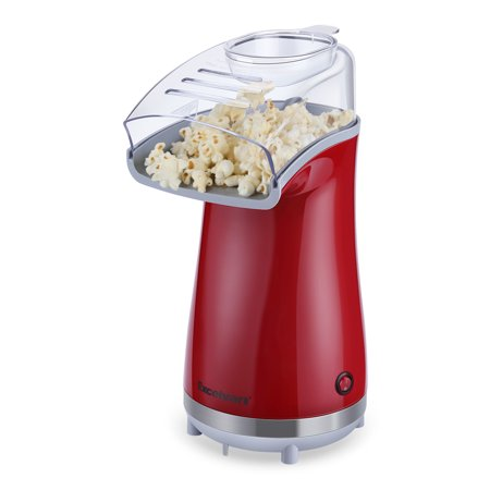 Excelvan Air-pop Popcorn Maker Makes 16 Cups of Popcorn Once, Includes Measuring Cup and Removable Lid Red ()