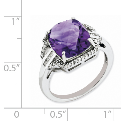 925 Sterling Silver Rhodium-plated Checker-Cut Amethyst and Diamond Ring - image 1 of 2