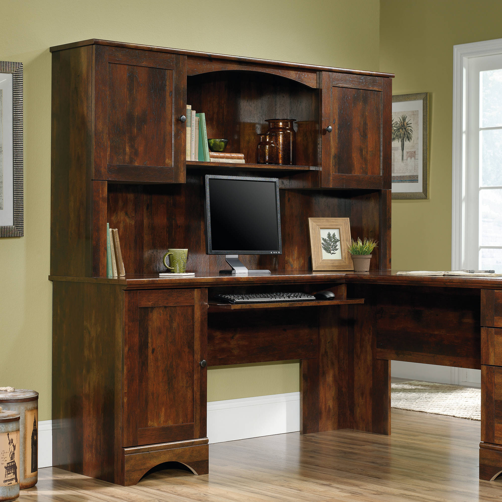 Sauder Harbor View L-Shaped Hutch, Curado Cherry Finish