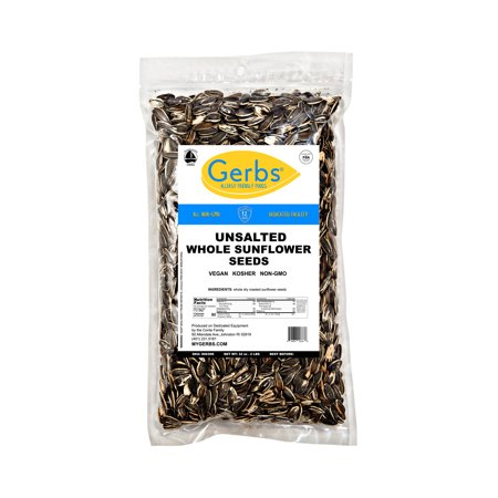 Unsalted Sunflower Seeds In Shell by Gerbs - 2 LBS - Top 14 Food Allergen Free & NON GMO - Dry Roasted (Chocolate Sunflower Seeds)