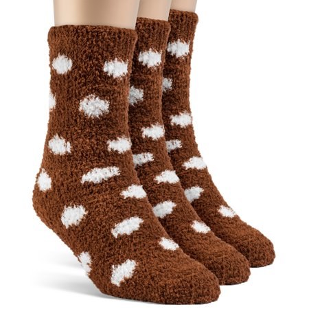 Frad Rivka Women's Dotted Warm Crew Fuzzy Socks - 3 Pairs