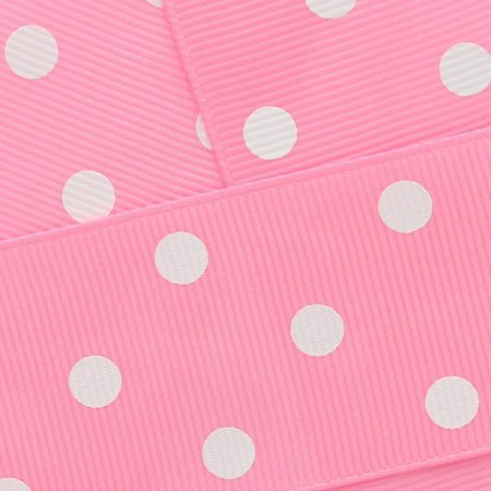 3/8 Grosgrain Ribbon White Dots 143 Bubblegum Pink 100yd