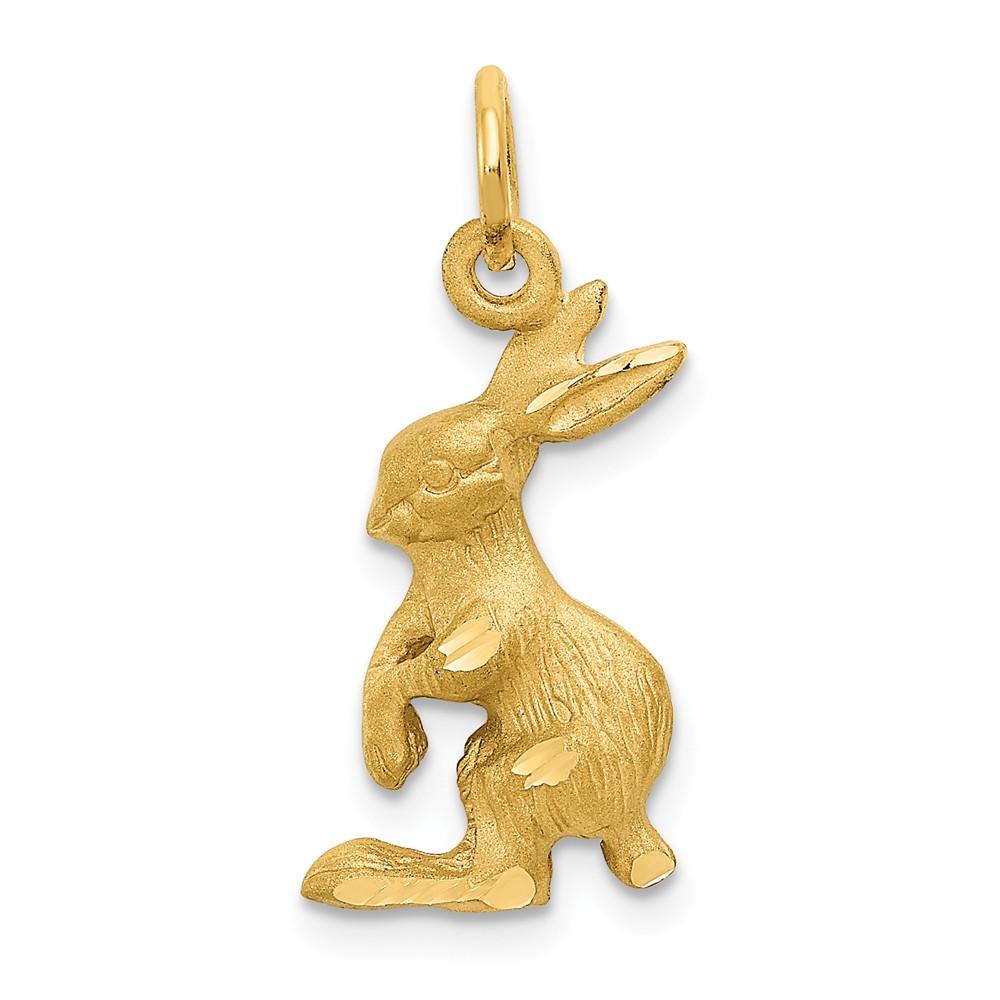 14k Yellow Gold Jack Rabbit Bunny Charm Pendant