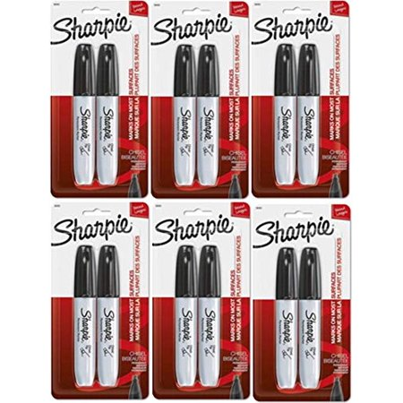 Sharpie Chisel Tip Permanent Markers, Black, 6 Blister Pack with 2 Markers each for a Total of 12 Markers -