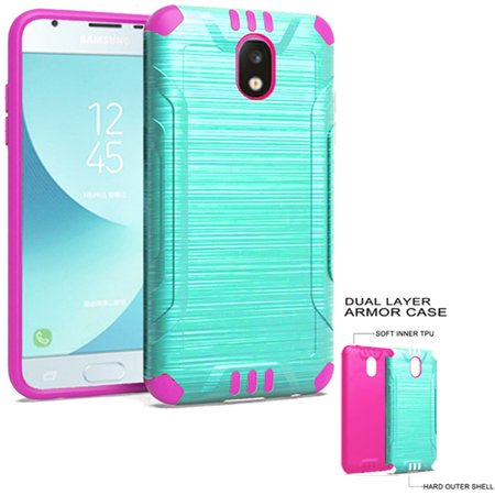 Phone Case For Samsung Galaxy J3 Orbit, J3 Top (Verizon) J3V 3rd Gen, Galaxy J3 Star, Amp Prime 3, J3 Achieve, Express Prime 3, J3 (2018) Dual-Layered Cover (Combat Teal-Pink TPU)
