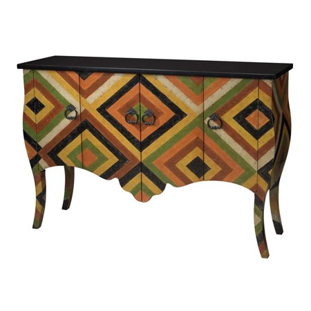 Sterling African Print Accent Chest Red Black Yellow