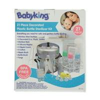 Babyking 21 Piece Decorated Plastic Bottle Sterilizer Kit