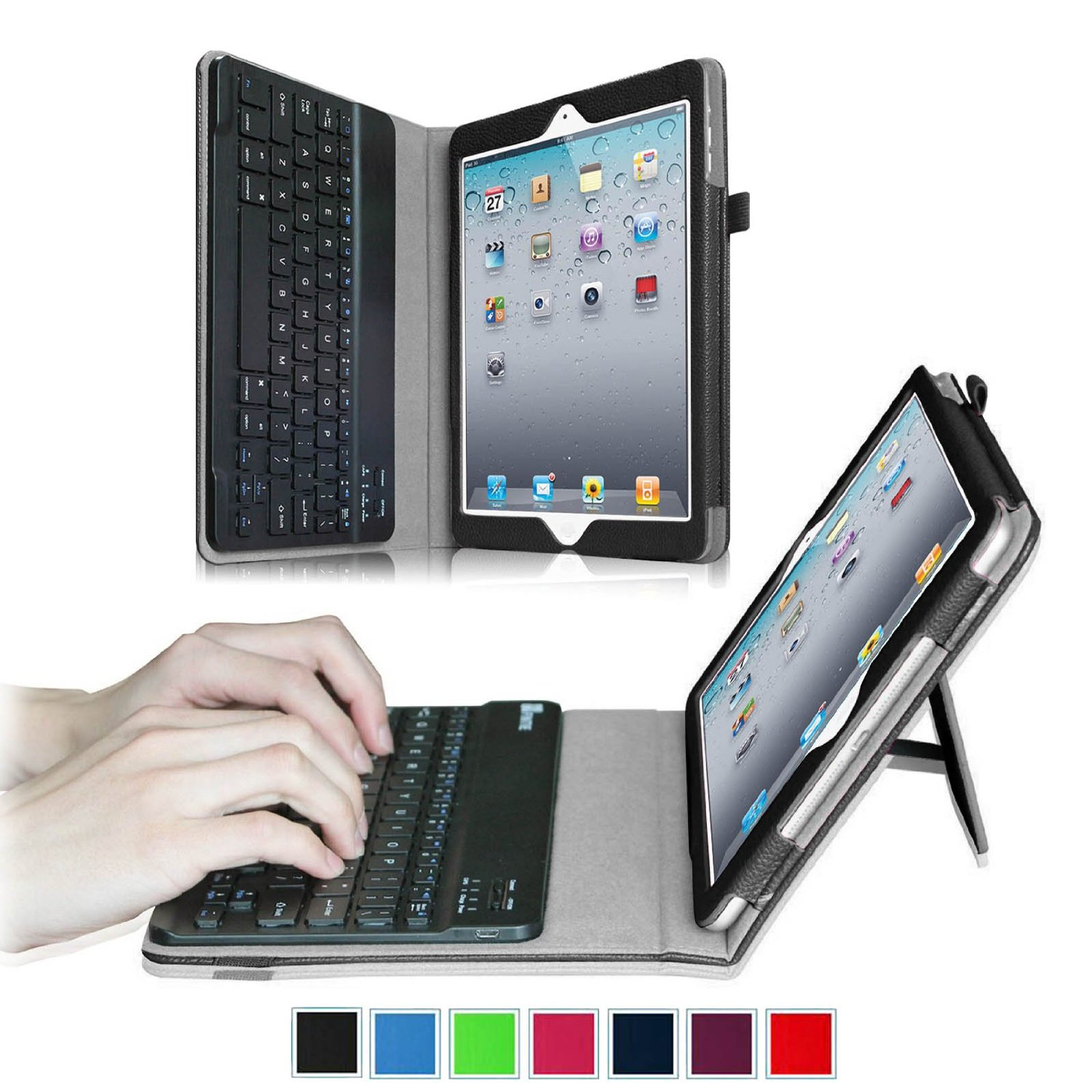 For Apple iPad 4, iPad 3 & iPad 2 Keyboard Case - Fintie Folio Case With Removable Bluetooth Keyboard, Black
