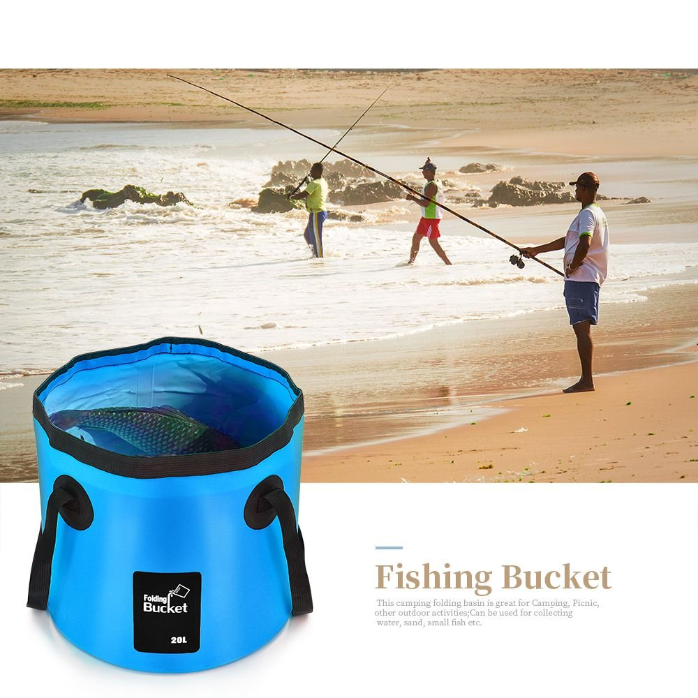 Red ACORRA Folding Water Bucket Outdoor Foldable Pouch Barrel Collapsible Portable Camping Storage Container Wash Basin
