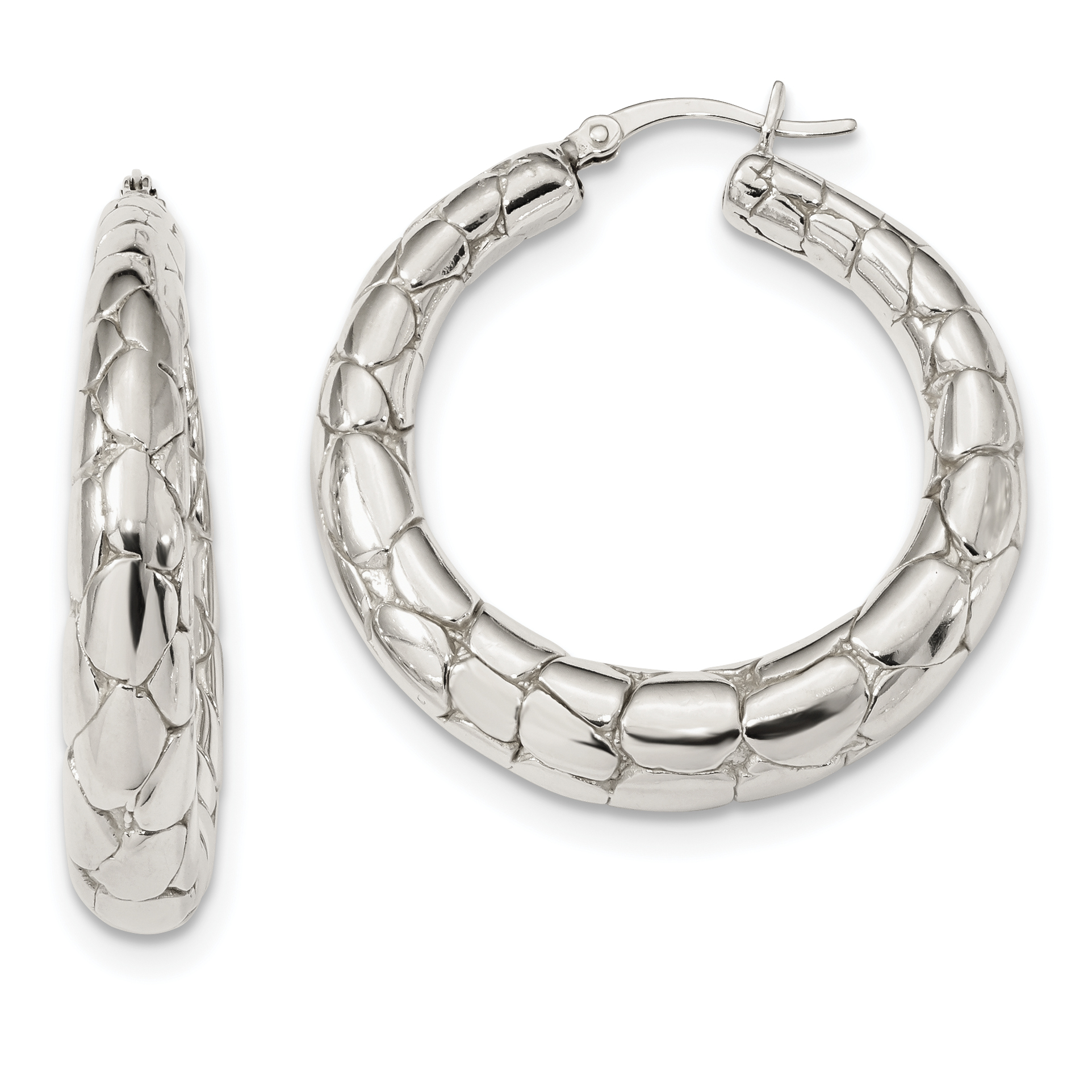 925 Sterling Silver Polished /& Textured Hoop Earrings