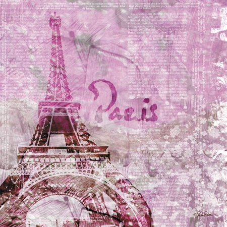 Paris France Tower - Trendy Contemporary Magenta Paris France Eiffel Tower with Script Background; One 12x12in Paper Poster