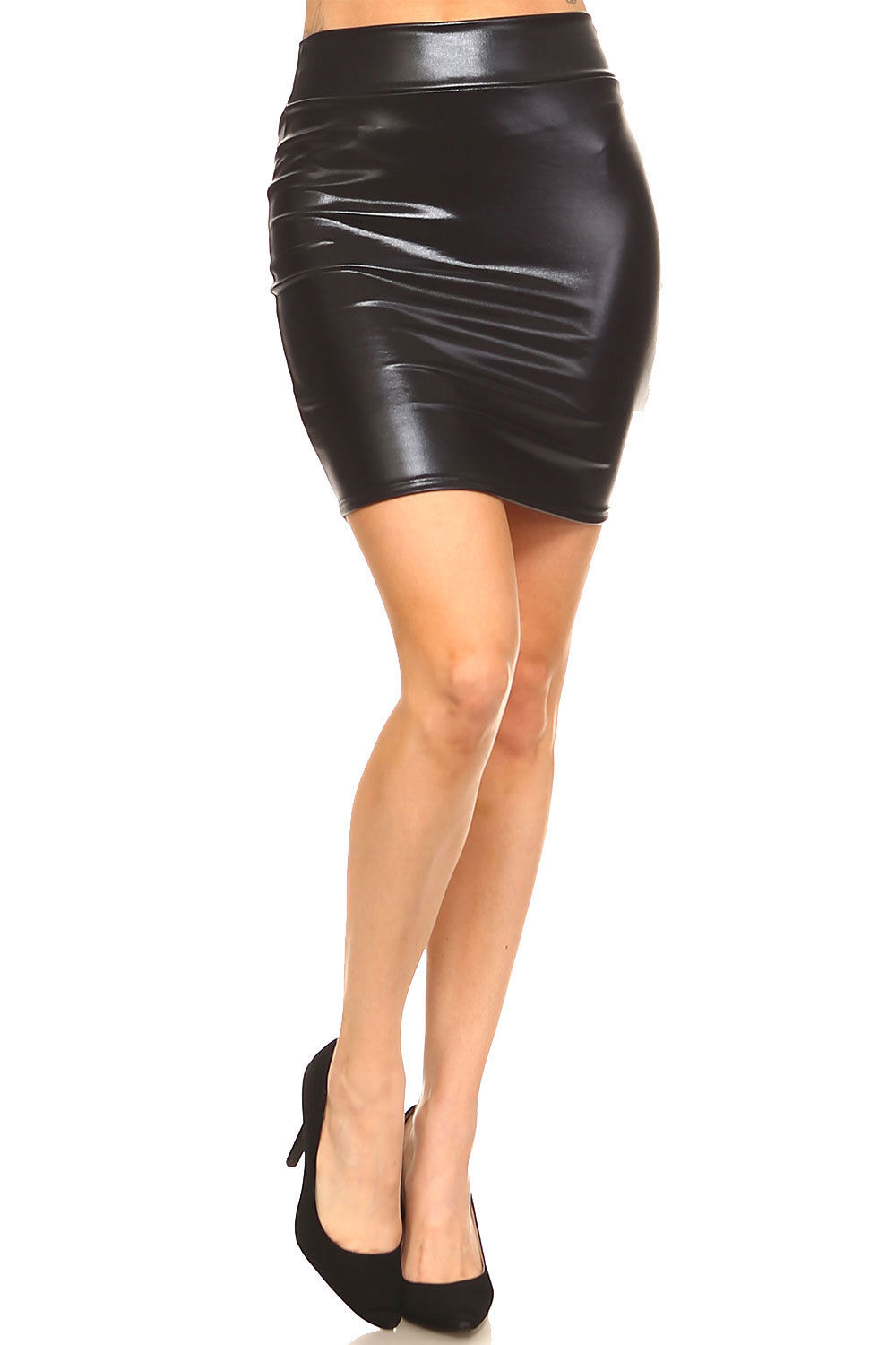 469d023db Black Leather Bodycon Mini Skirt | Saddha
