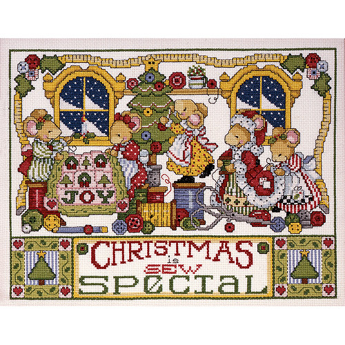 "Christmas Is Sew Special Counted Cross Stitch Kit, 11"" x 14"", 14-count"