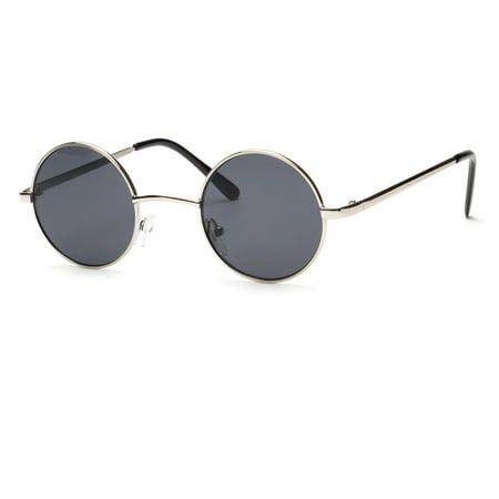 Blue Gold Mirror Lens Round Circle Metal Frame Medium Size Men Womens Sunglasses