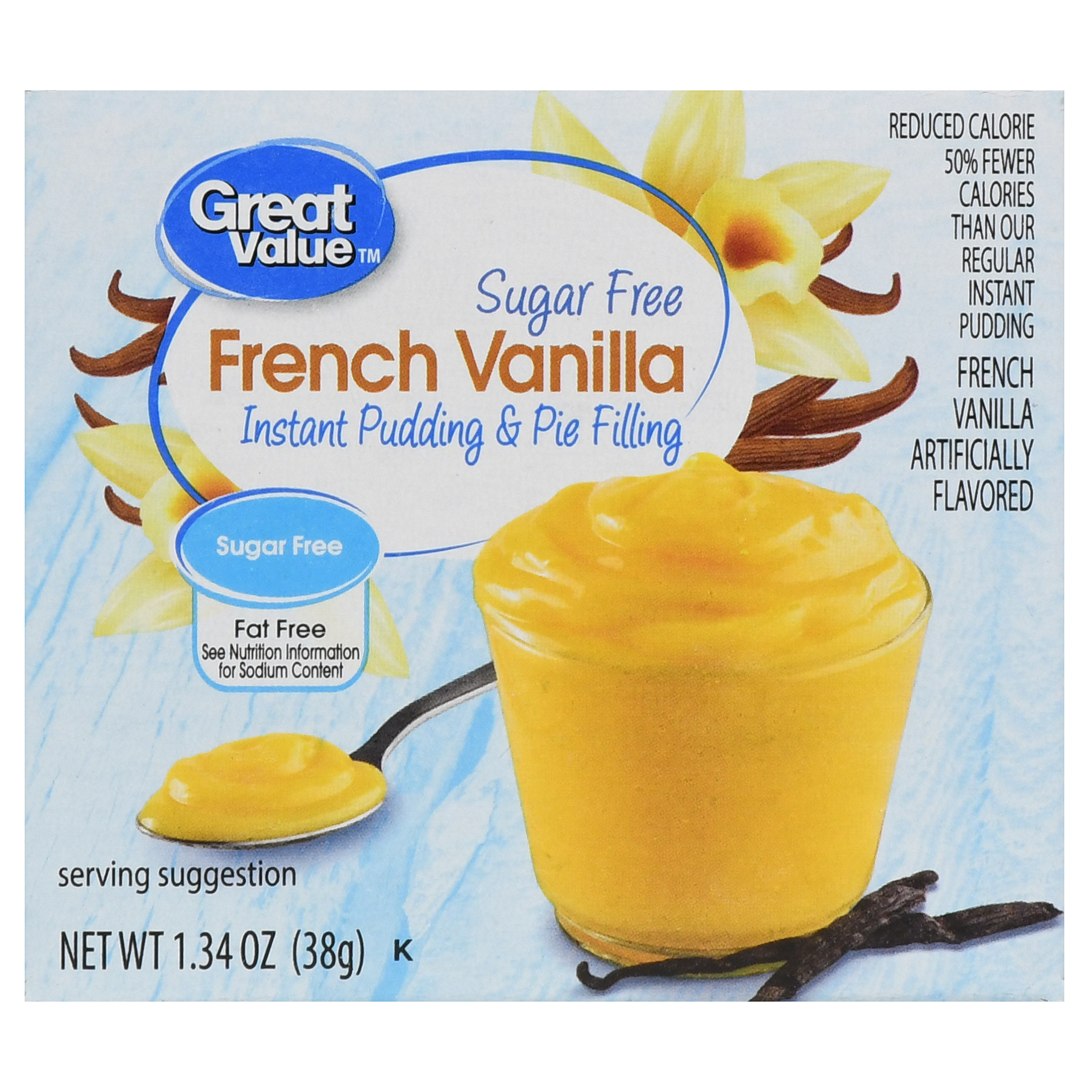 Great Value Instant Pudding & Pie Filling, Vanilla, Sugar Free, 1.34 oz