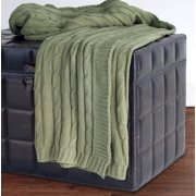 Cable Knit Throw in Olive