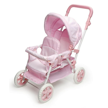 Badger Basket Folding Double Doll Front-to-Back Stroller - Pink/Gingham - Fits American Girl, My Life As & Most 18