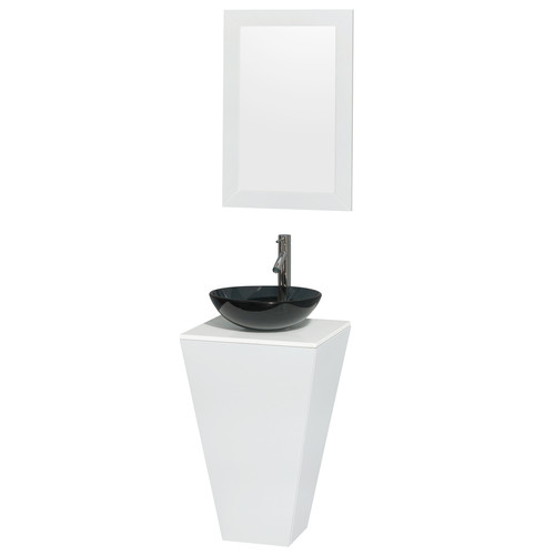 Wyndham Collection Esprit 20 Inch Pedestal Bathroom Vanity In Glossy White,  White Man Made Stone Countertop, Smoke Glass Sink, And 20 Inch Mirror    Walmart. ...