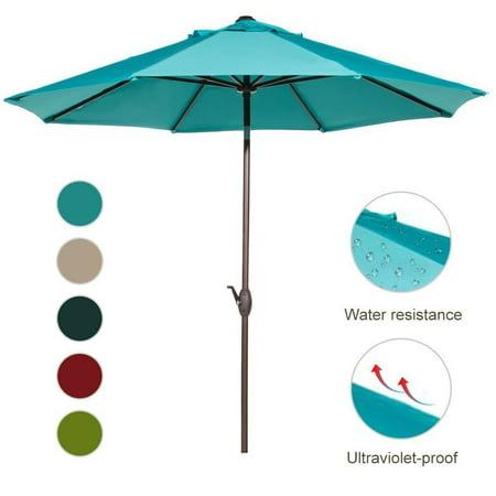 Abba Patio 9-Ft Aluminum Patio Umbrella with Auto Tilt and Crank, 8 Ribs, Turquoise