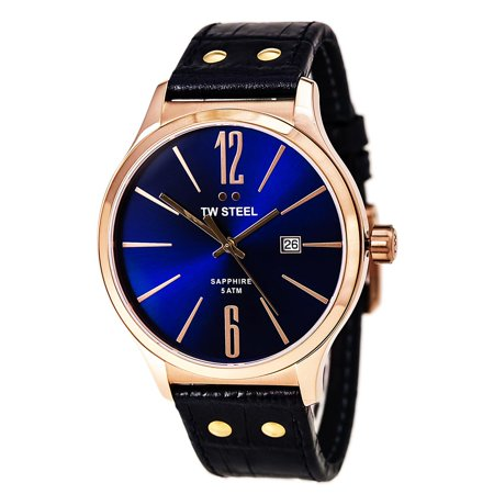 Dial Steel Strap - TW Steel TW1305 Unisex Slim Line Blue Dial Blue Leather Strap Rose Gold Steel Watch