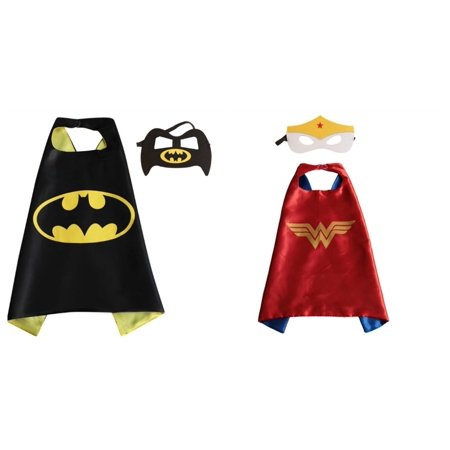 Wonder Woman & Batgirl Costumes - 2 Capes, 2 Masks w/Gift Box by Superheroes