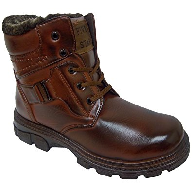 FIVE STAR Mens Brown Warm Lined Lace Up Side Zipper Winter Warm Lined Rugged Winter Snow Boots