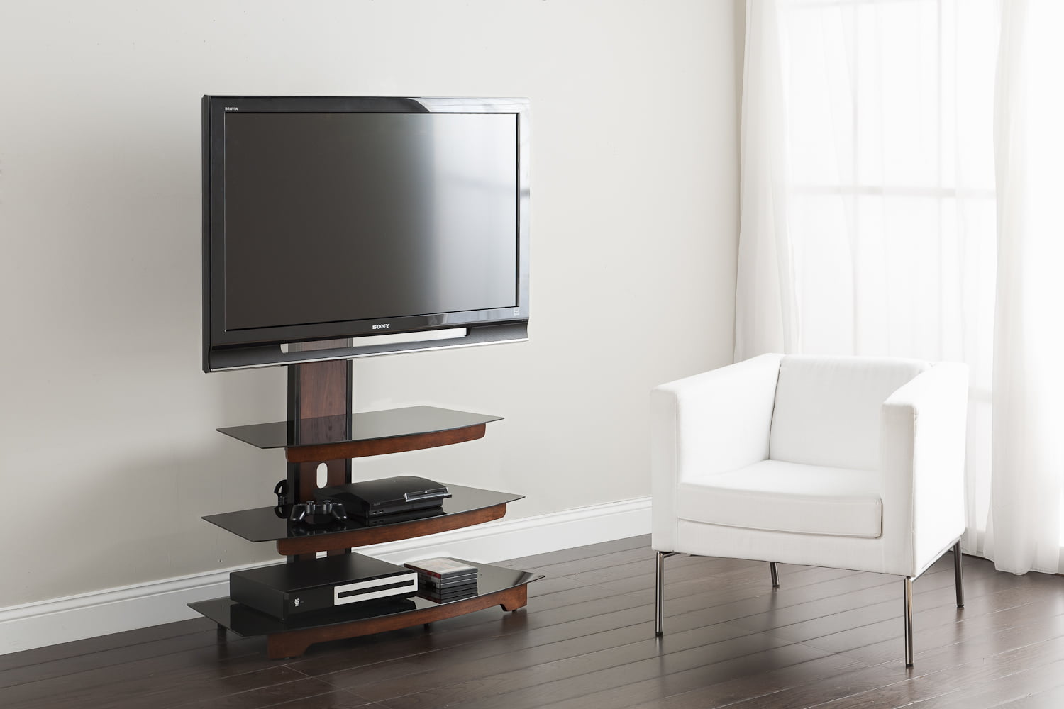 """whalen 3-in-1 black tv console for tvs up to 70"""", black glass"""