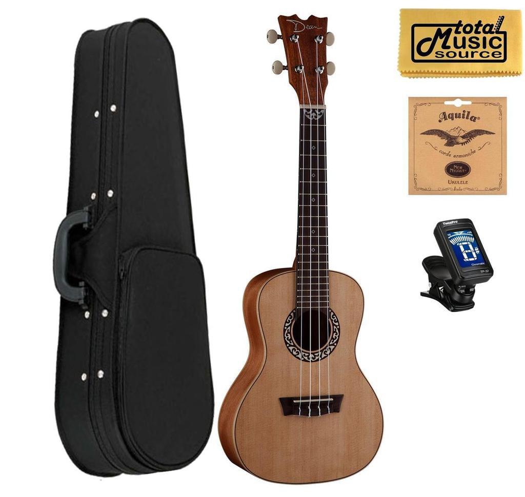 Dean Guitars Concert Spruce Ukulele, Satin Natural w/Soft Case,Tuner,Strings & PC ,UKEDCSPR SCASE