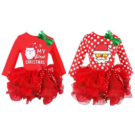 Kids Girls Xmas Party Tulle Tutu Skirt Santa Snowman Long Sleeve Dress Costume