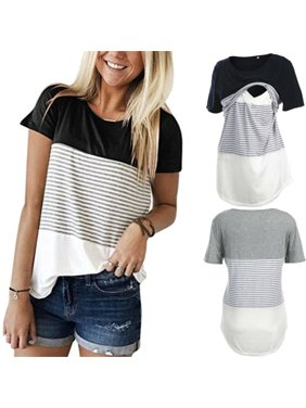 Women Breastfeeding Shirt Striped Maternity Breastfeeding Nursing Tunic Tops