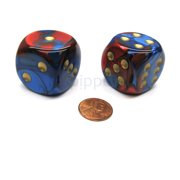 Chessex Gemini 30mm Large D6 Dice, 2 Pieces - Blue-Red with Gold Pips #DG3029