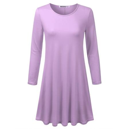 930ab548272 Doublju - Doublju Women s Casual Plain Fit Flowy Simple Swing T-Shirt Loose  Tunic Dress LILAC M - Walmart.com