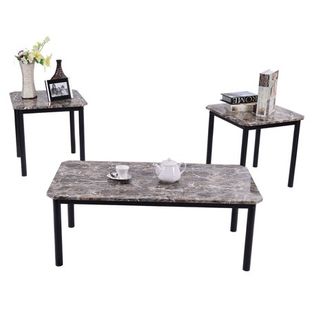 Costway 3 Piece Modern Faux Marble Coffee And End Table Set Living Room Furniture Decor