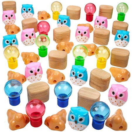 Halloween Gift Bag Ideas For School (48 piece of 1 to 2.5 inches Assorted Pencil Sharpeners – Party Needs – Loot Bags – Party Bags – Gift Ideas - Easter Egg Fillers – Halloween Treats –)