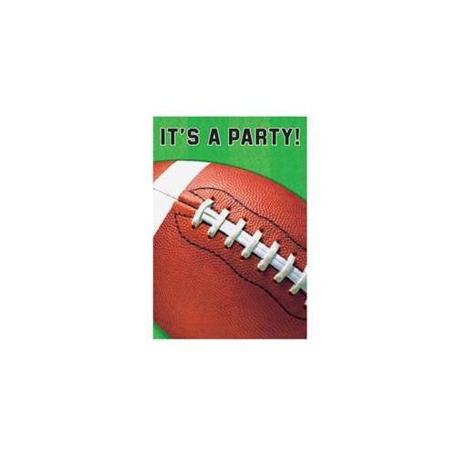 Amscan 235610 6'' L x 4'' W x 0. 5'' H Football Invitations with A Football on The Front Cover