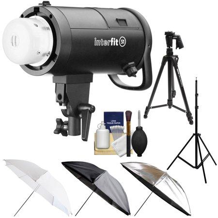 Interfit S1 500ws HSS TTL IGBT Studio Flash Strobe Monolight with Tripod + Light Stand + 3 Umbrellas + Kit