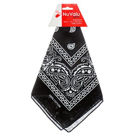 Bandana Wholesale (New 350991  Nuvalu Bandana Black 100% Cotton 21 X 21