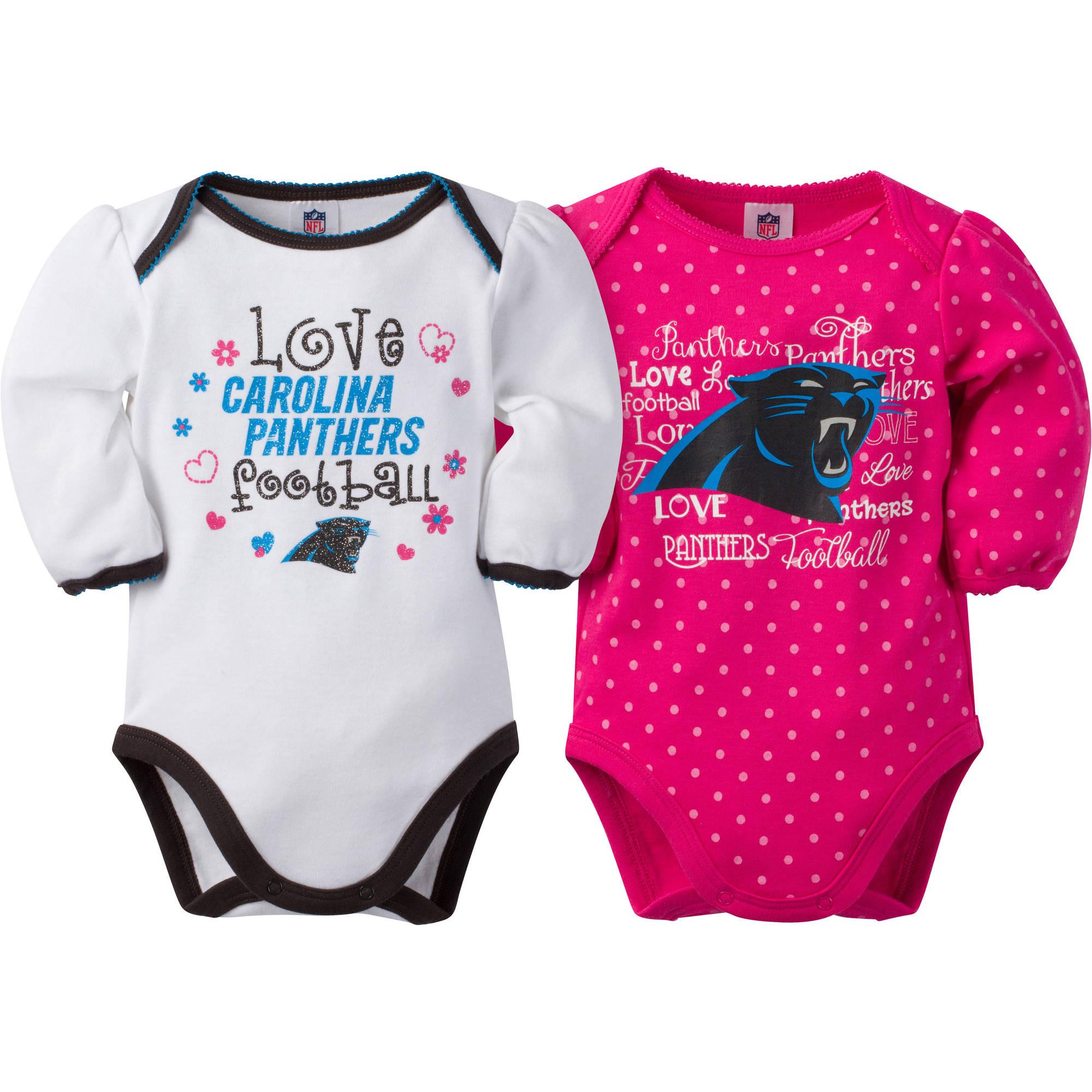 NFL Carolina Panthers Baby Girls Long Sleeve Bodysuit Set, 2-Pack
