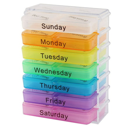 Pill Box Weekly Daily (Household Travel Detachable Medication Reminder Daily Am PM Weekly Pill Box Case )