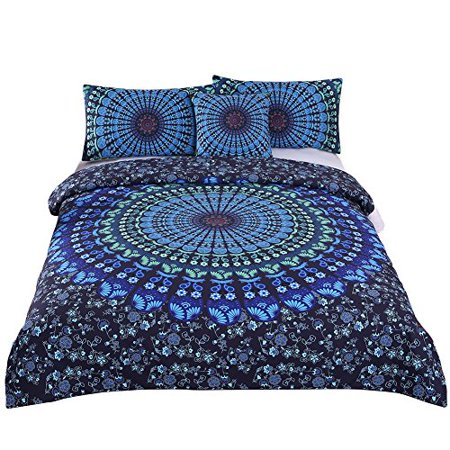 Sleepwish Duvet Cover Twin Mandala Bohemian Bedding Set Hippie Boho Bed Set Blue Bedspread Blanket Cover with Zipper Ties 4 pc Bedroom Set(Duvet Cover and Pillowcase) for Kids Boys Girls - image 1 de 1
