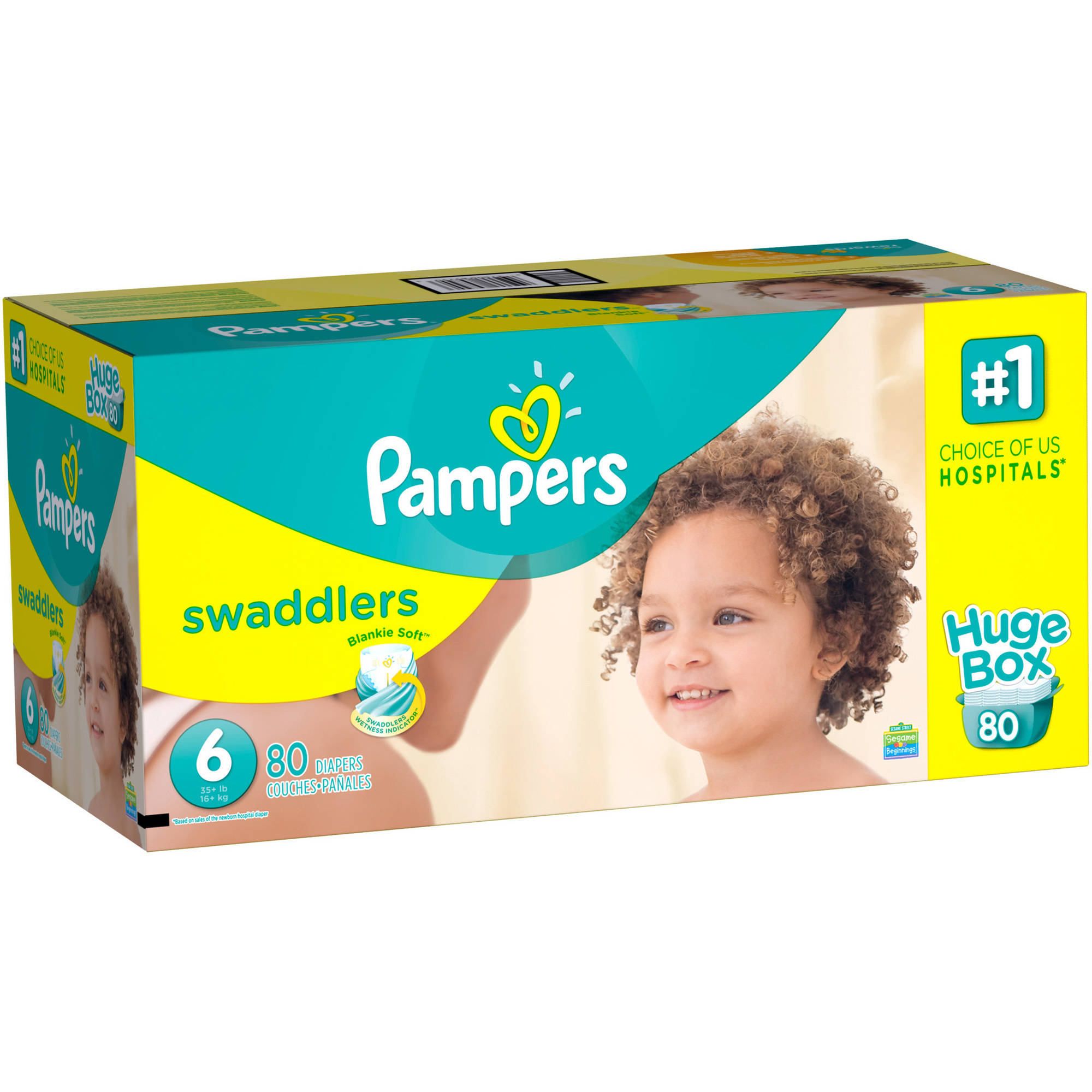 Pampers Swaddlers Diapers, Size 6, 72 Diapers - Walmart.com